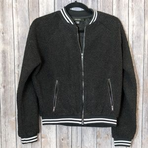 NWOT Miss Love Fuzzy Zip-Up Bomber Jacket Small